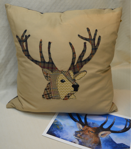 Cushion. Stag. Applique. Fawn cotton front. Brown checked tweed back (OSBC3)