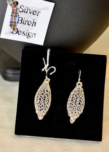 Earrings. Drop. Silver enameled wire. 35ml Drop. Boxed (66KJ7)