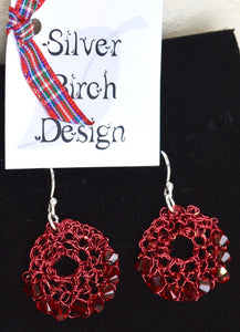 Earrings. Drop. Knitted red wire with Swarovski crystals. (66KJ6)