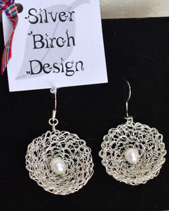 Earrings. Drop. Viking knit Silver enameled wire. 30ml with Natural Pearl. Boxed (66KJ8)