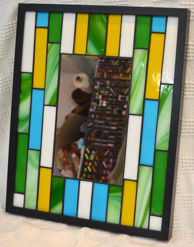 Stained Glass mirror by Wild Hare Glass. Green/yellow/blue. (17WHGMS)