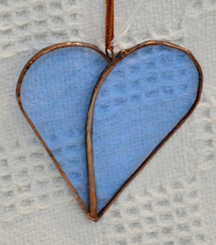 Stained Glass by Wild Hare Glass. Pale blue heart hanging. (17WHGSH1)