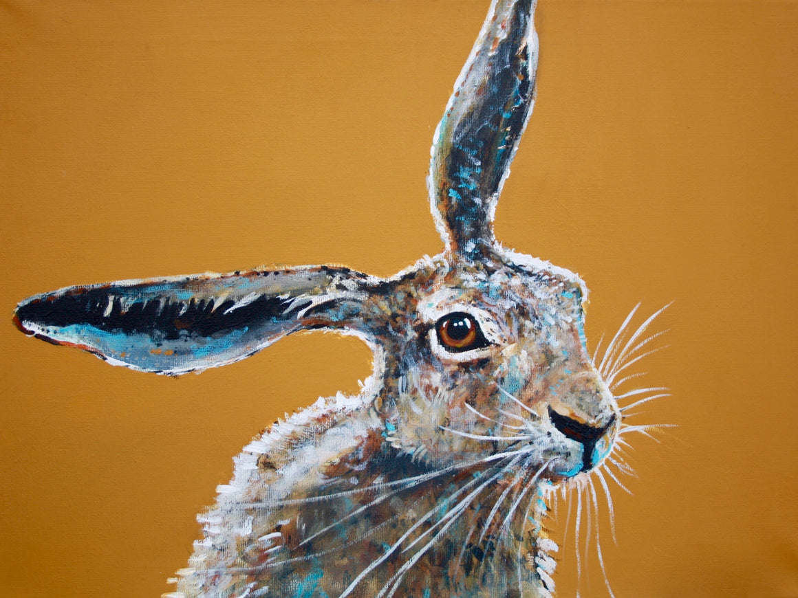 "A4 Signed & Mounted Print, ""Hare Brained""."