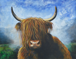 "A4 Signed & Mounted Print, ""Misty Moo, Coo""."
