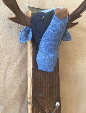 Blue tweed stag coat hook