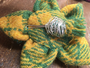 Handmade Harris Tweed brooch with thistle detail in green and yellow