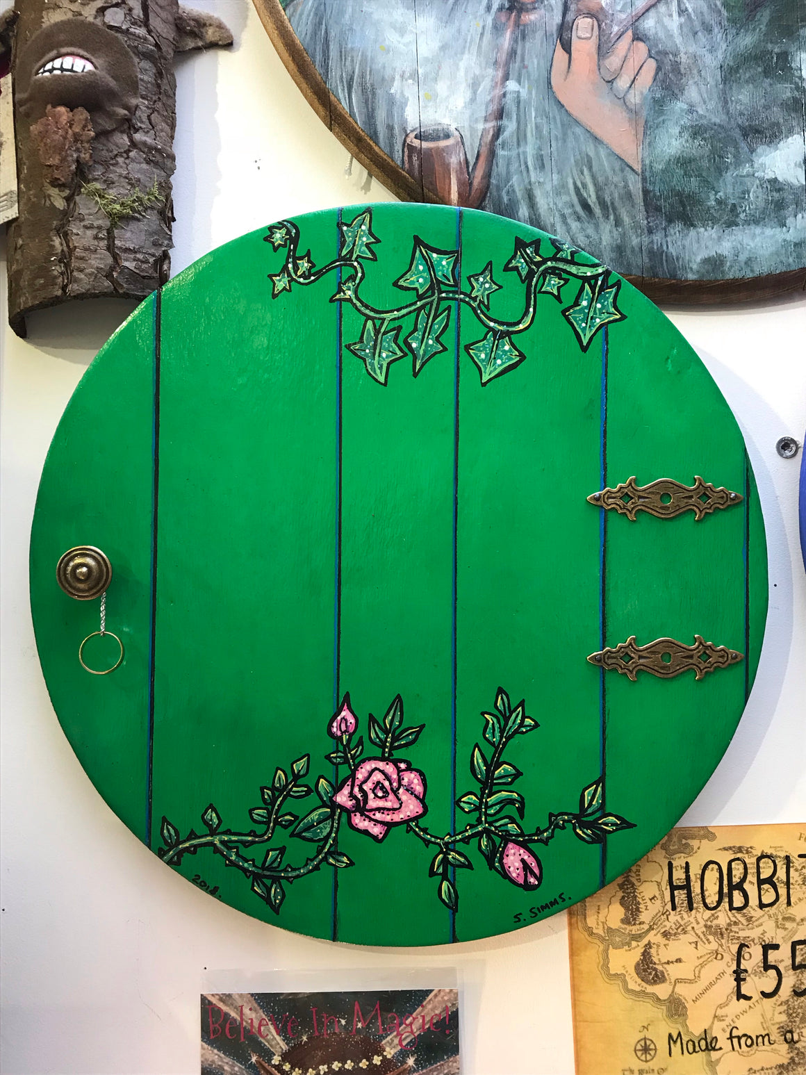 "Hobbit door. Green. With ""One Ring on chain"""