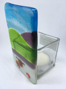 Fused glass t light holder with cow design 7CTL
