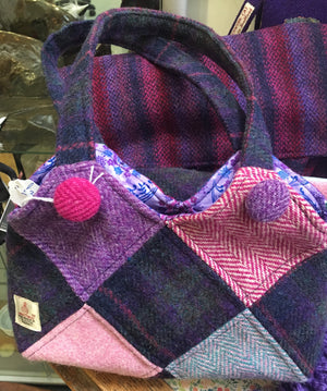 Harris tweed Purple and pink Harlequin patchwork handbag
