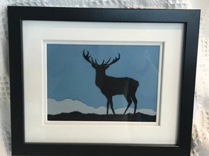 Framed paper cut stag. 28x23cm(5bo51)