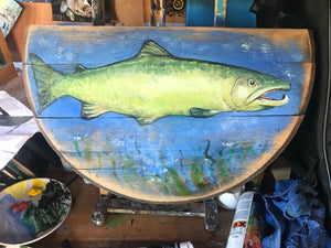 Salmon painted on half whisky barrel with textile relief.