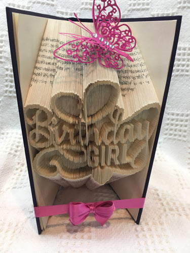 Book fold birthday girl