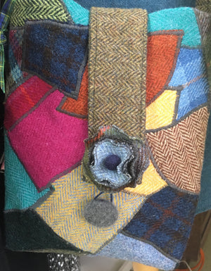 Tweed crazy patchwork crossbody bag in multi colours