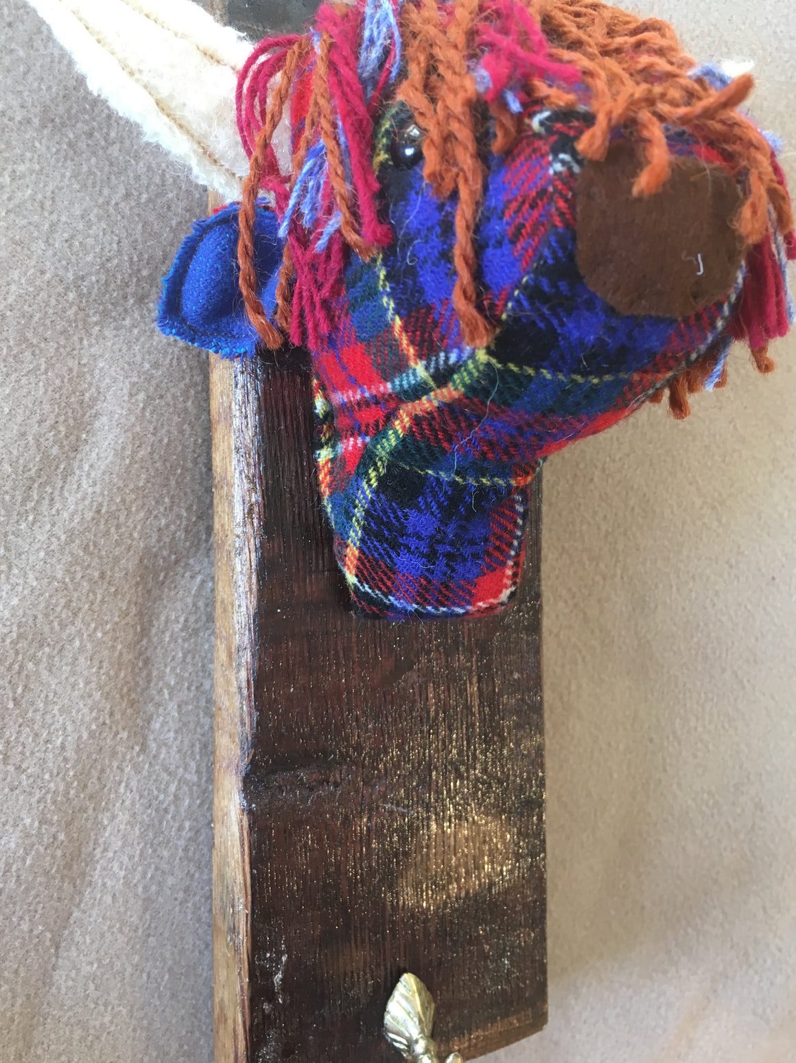 Tartan highland cow coat hook
