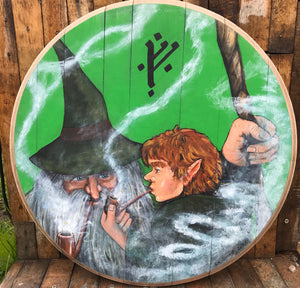 "Hobbit door. Green. Hand painted ""Outside Bagend""With ""One Ring on chain"""