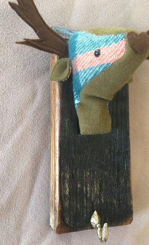 Green felt and cashmere stag coat hook