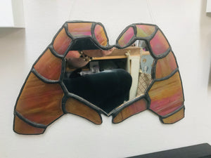 Stained Glass Mirror. 2 hands making a heart.