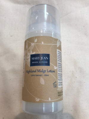 Lotion. Highland Midge Lotion with Bog Myrtle & Lemon Grass by Mary Jean. (51HML)