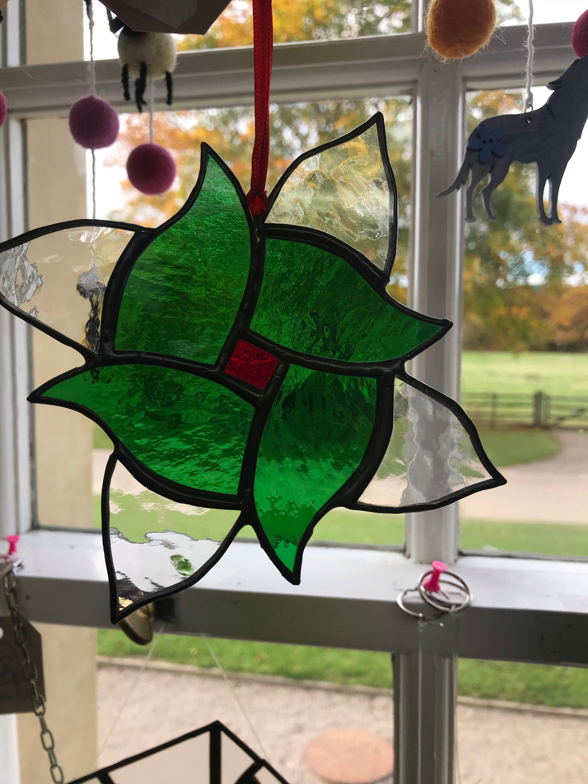 Green flower. Stained Glass by Lorien glass.