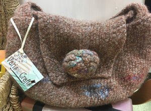 Brown Felted hand knitted handbag