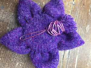 Handmade Harris tweed brooch with thistle detail in purple