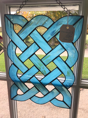 Intricate lattice work /Celtic knot blue stain glass. Window or wall display. Lorien glass (20)