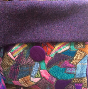 Purple crazy patchwork Harris tweed handbag
