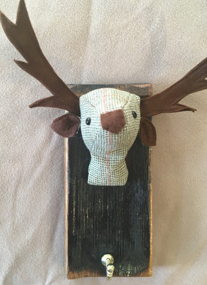 Green tweed stag coat hook