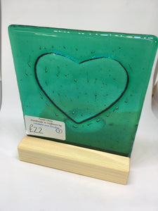 Fused glass and wood candle shade