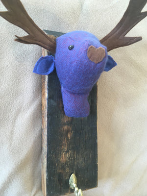 Purple cashmere  stag coat hook