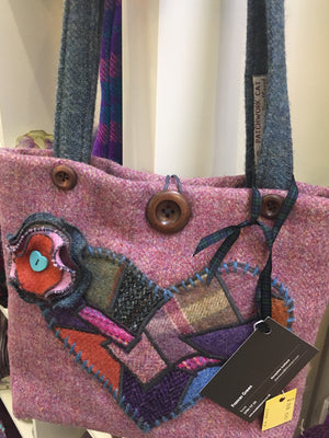 Pink tweed Shoulder handbag with crazy patchwork heart
