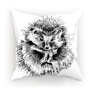 Cushion. Hedgehog. Ink drawing by Jude Simms.