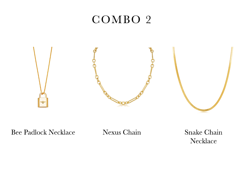 Gold Padlock, Nexus Chain and Flat Snake Chain Necklace - Ivy Rose Jewellery