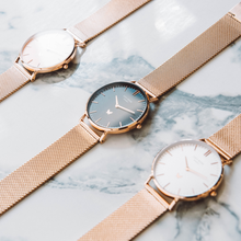 Marylebone - Black, Rose Gold mesh strap
