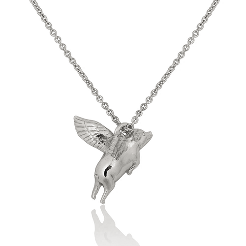 Flying Pig Necklace - Silver