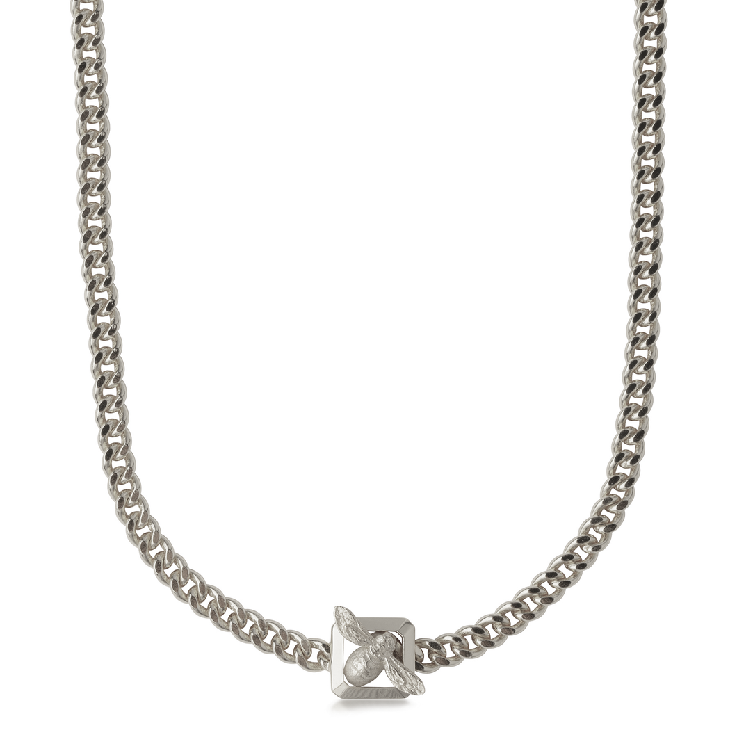 Bee Fastener Chain Necklace Silver