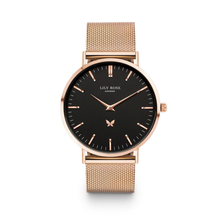 Black face rose gold lily rose london watch