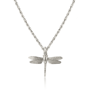 Dragonfly Necklace on Rope Chain Silver