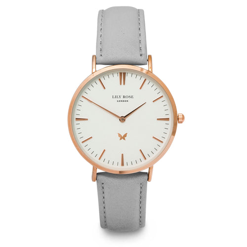 NOTTINGHILL - LARGE WHITE DIAL ROSE GOLD WATCH - STONE LEATHER STRAP