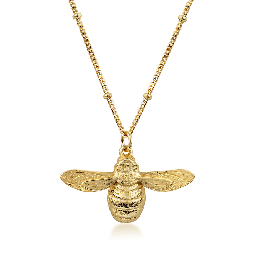 Larger Bumble Bee Necklace, with Bobble Chain