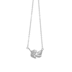 Silver feather necklace lily rose london