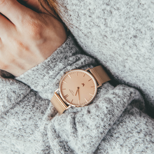 MARYLEBONE - LARGE ROSE GOLD DIAL WATCH - ROSE GOLD METAL MESH STRAP