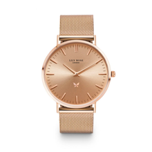 Rose gold face metal strap Lily Rose London ladies watch