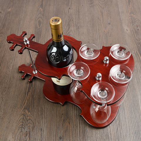 Wooden Violin Wine Bottle and Glass Stand