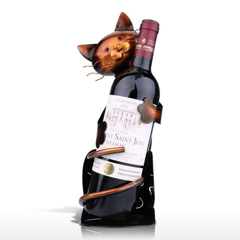 Cat Wine Bottle Holder Metal Sculpture