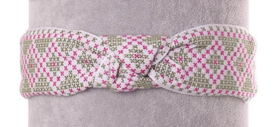 Cross Stitch Patterned Headband - Green & Pink