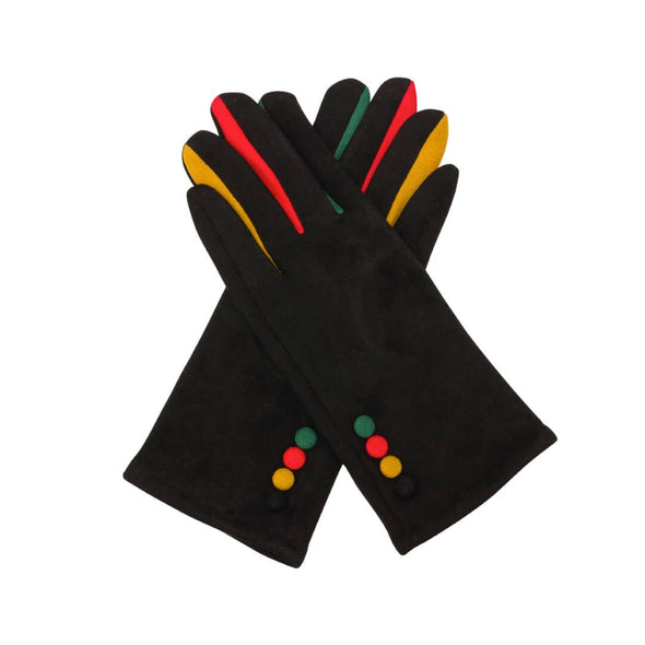 4 Button Gloves - Black