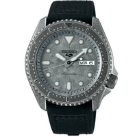 SEIKO 5 SPORTS SRPE79 SRPE79K1 SILVER DIAL WITH BLACK LEATHER STRAP