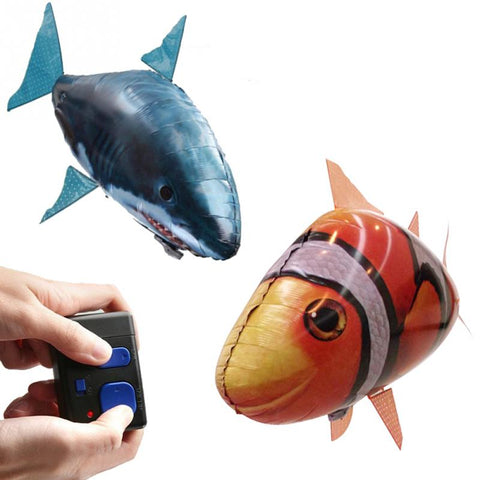 Remote Control Toy Inflatable Balloon Air Swimmer Flying Clown Fish Shark Blimp RC Fish
