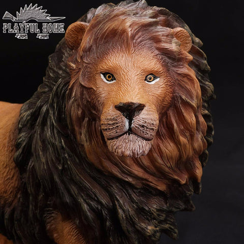 Certified Goods Large Lion Model 3D Animal Soft PVC Stuffed Action Figures Toy For Children Kid Anime Figma Handmade Gift